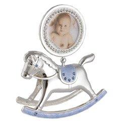 473-3184 Ramka dziecięca z masy perłowej - niebieska, konik