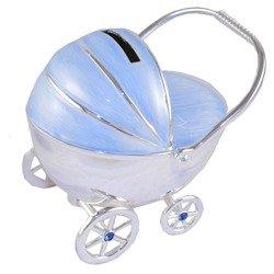 473-3263 Skarbonka z masy perłowej - niebieski wózek dziecięcy