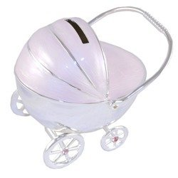 473-3264 Skarbonka z masy perłowej - różowy wózek dziecięcy