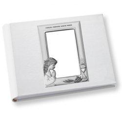 Album z obrazkiem srebrnym Pamiątka I Komunii dla dziewczynki DS0706A