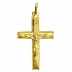 Medalik pozłacany 24k złotem - Krzyż z wizerunkiem Jezusa MBR4/3
