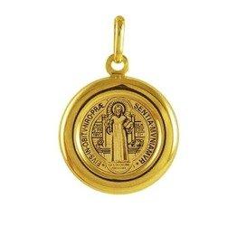 Medalik pozłacany 24k złotem - Święty Benedykt MBR1/2