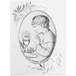Obrazek Srebrny Pamiątka I Komunii dla chłopca owal z podpisem DS05FOO