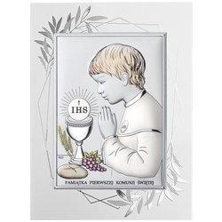 Obrazek Srebrny Pamiątka I Komunii dla chłopca prostokąt z podpisem Dono DS04FOCO
