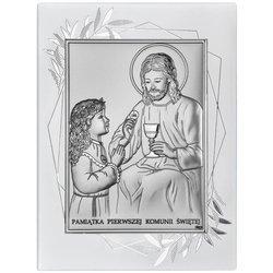 Obrazek Srebrny Pamiątka I Komunii dla dziewczynki prostokąt z podpisem DS45FOA