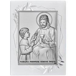 Obrazek Srebrny Pamiątka I Komunii dla dziewczynki prostokąt z podpisem DS45FOO