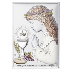 Obrazek Srebrny Pamiątka I Komunii dla dziewczynki prostokąt z podpisem kolor DS04CA