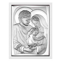 Obrazek Srebrny Święta Rodzina drewniana ramka 6545W