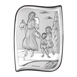 Obrazek srebrny Anioł Stróż Pamiątka Chrztu 6550