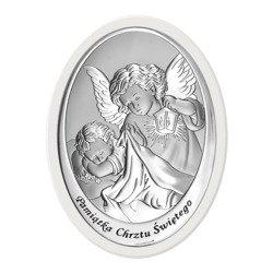 Obrazek srebrny Anioł Stróż Pamiątka Chrztu 6561W