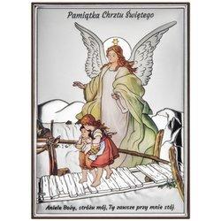 Obrazek srebrny Anioł na kładce Pamiątka Chrztu Świętego DS41C