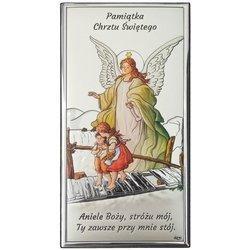 Obrazek srebrny Anioł na kładce Pamiątka Chrztu Świętego DS43C