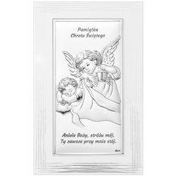 Obrazek srebrny Aniołek Pamiątka Chrztu Świętego DS01F