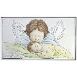 Obrazek srebrny Aniołek nad dzieciątkiem 81288COL