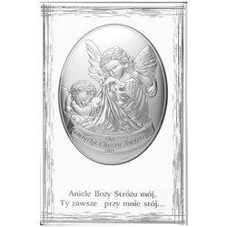 Obrazek srebrny Aniołek z latarenką nad dzieckiem podpisem 824