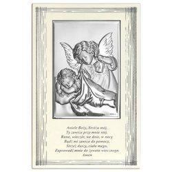 Obrazek srebrny Aniołek z latarenką z podpisem 6598F
