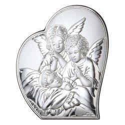Obrazek srebrny Aniołki nad dzieckiem 81084
