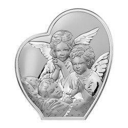Obrazek srebrny Aniołki nad dzieckiem Pamiątka Chrztu Świętego 6592B