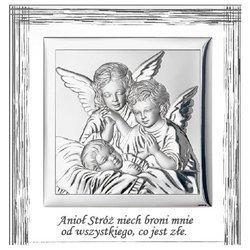 Obrazek srebrny Aniołki nad dzieckiem podpisem 829