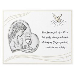 Panel z obrazkiem srebrnym Pamiątka I Komunii dla dziewczynki DS08031A