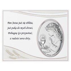 Panel z obrazkiem srebrnym Pamiątka I Komunii dla dziewczynki DS08051A