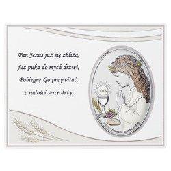 Panel z obrazkiem srebrnym Pamiątka I Komunii dla dziewczynki DS08051CA