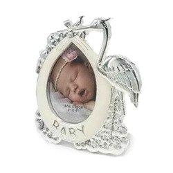 Ramka dziecięca z masy perłowej - beżowa, bocian 473-3345