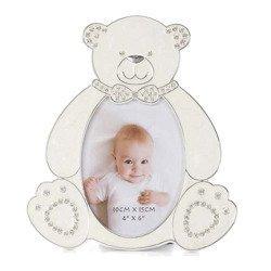 Ramka dziecięca z masy perłowej - beżowa, miś 473-3300