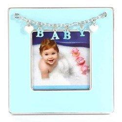 Ramka dziecięca z masy perłowej - niebieska, Baby, serduszka 473-3311
