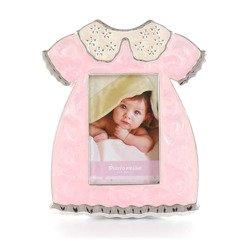 Ramka dziecięca z masy perłowej - różowa, sukienka 473-3296