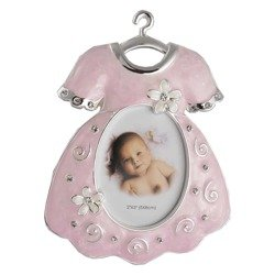 Ramka dziecięca z masy perłowej - różowa, ubranko 473-3195