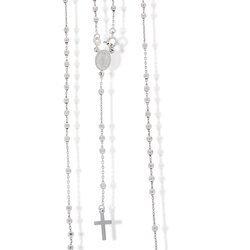 Różaniec srebrny - 5 dziesiątek z zapięciem rodowany 50cm 5,6-6,3 g, srebro pr. 925 RC033