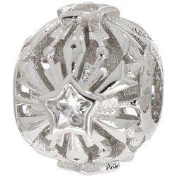 Srebrna przywieszka pr 925 Charms ażurowa kula płatek śniegu z cyrkonią PAN240
