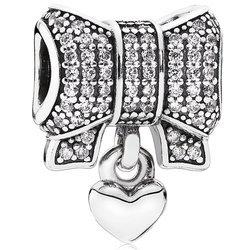 Srebrna przywieszka pr 925 Charms kokarda cyrkonie wiszące serce PAN205