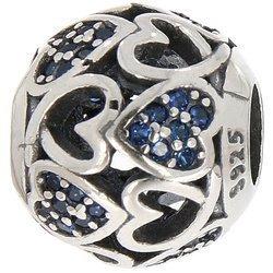 Srebrna przywieszka pr 925 Charms kulka serca puste oraz z niebieską cyrkonią PAN241