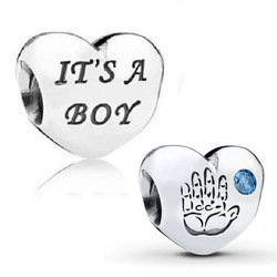 Srebrna przywieszka pr 925 Charms serce It's a boy PAN178