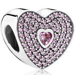 Srebrna przywieszka pr 925 Charms serce cyrkonie PAN209