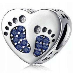 Srebrna przywieszka pr 925 Charms serce stopki niebieskie cyrkonie PAN217