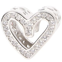 Srebrna przywieszka pr 925 Charms serce z cyrkoniami PAN238