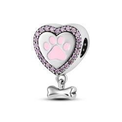 Srebrna przywieszka pr 925 Charms serce z różowymi cyrkoniami PAN237