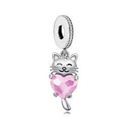 Srebrna przywieszka pr 925 Charms serce z zielonymi cyrkoniami PAN236