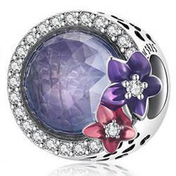 Srebrna przywieszka pr 925 Charms wiszący kryształ czerwone Serce Oceanu PAN227