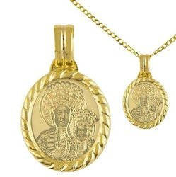 Zestaw Medalik z łańcuszkiem pozłacany 24k złotem Matka Boska Częstochowska MBR4/1/brolan45