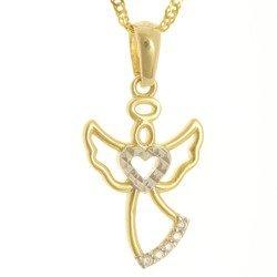 Złota przywieszka pr. 585 aniołek z sercem cyrkonie ZP057