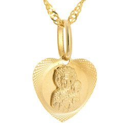 Złoty medalik pr. 585 M.B. Częstochowska serce  ZM031