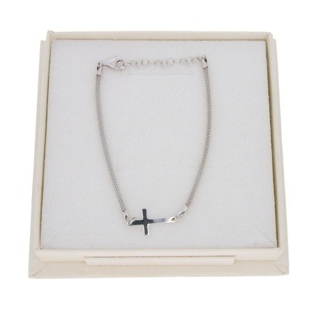 Srebrna Bransoletka Damska Krzyżyk pr 925