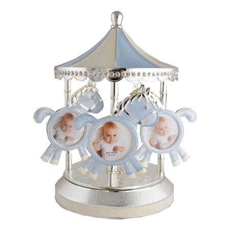 473-3181 Karuzela na zdjęcia z masy perłowej - niebieska, pozytywka