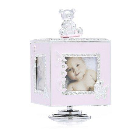 473-3273 Pudełko z masy perłowej na zdjęcia- różowe, pozytywka
