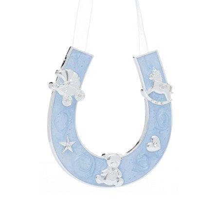 Dekoracyjna podkowa szczęścia - niebieska, dla chłopca 473-3083
