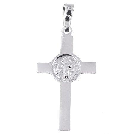 Krzyżyk srebrny  św. Benedykta z wizerunkiem Jezusa MO013
